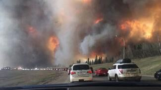 Cars driving away from Fort McMurray wildfires in November 2016