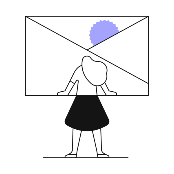 Illustration of woman with standing in envelope  and sun peeking out